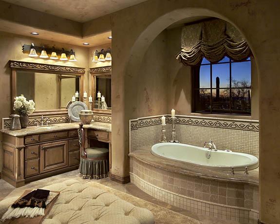 Gina spiller design monterey county interior designer for Mediterranean master bathroom ideas